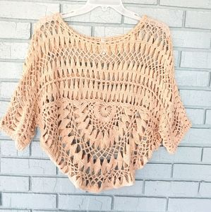 Willow & Clay crocheted tan top